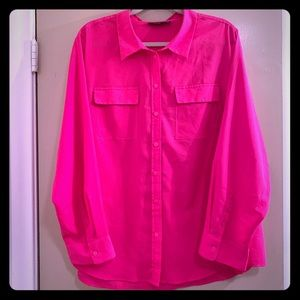 Apt. 9 Semi-Sheer Hot Pink Blouse - Size 3X